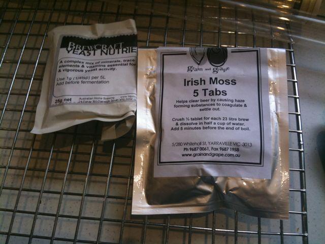 The Irish Moss & Yeast Nutrients. Always handy.